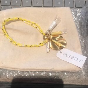 JCrew yellow beaded with charm bracelet- NWT